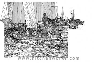 Pen and Ink Drawing of American Eagle Cup Boat
